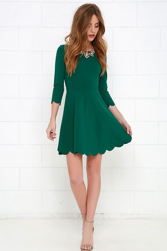 840674cf6dfa Cumulonimbus Clouds Dark Green Skater Dress