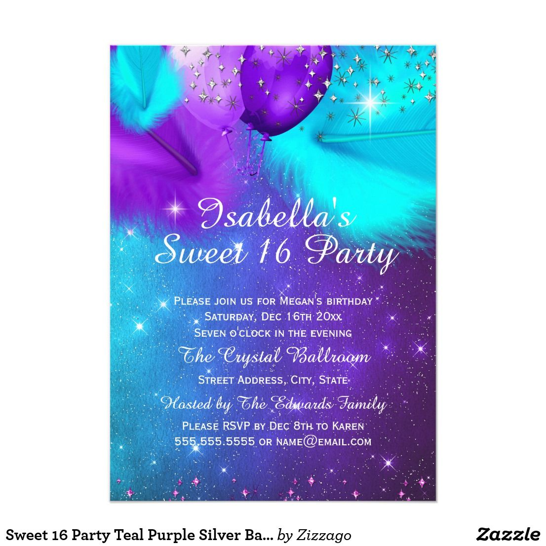 Awe Inspiring Sweet 16 Party Teal Purple Silver Balloons Cardteal Purple Personalised Birthday Cards Petedlily Jamesorg