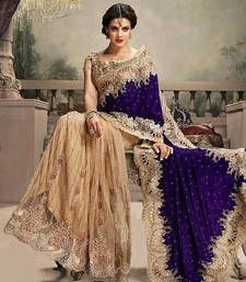 Black friday deals and offers Mirraw Buy Cream and Blue embroidered net+velvet saree with blouse party-wear-saree online
