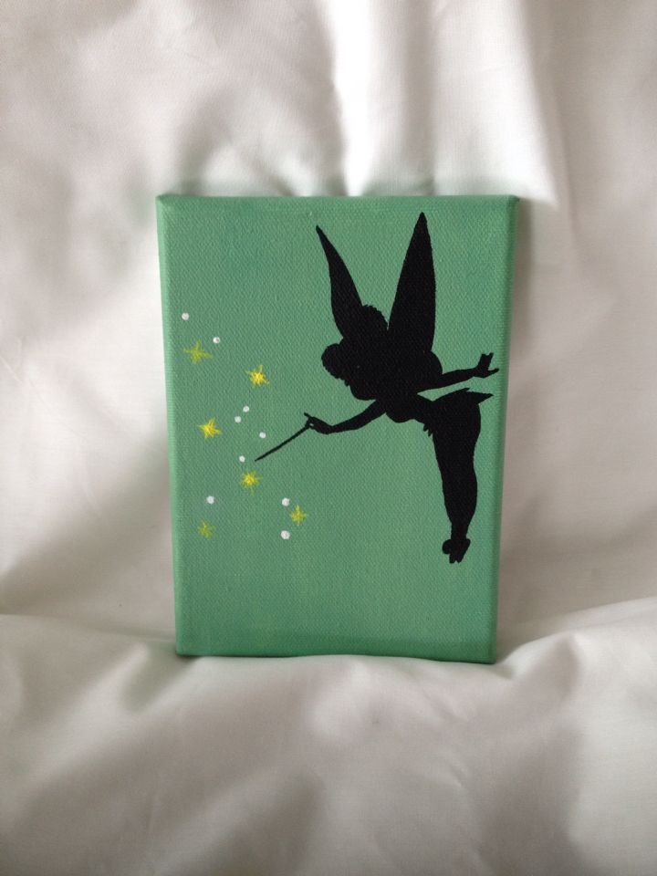 Disney Tinkerbell Silhouette Painting Acrylic on Canvas | Projects ...