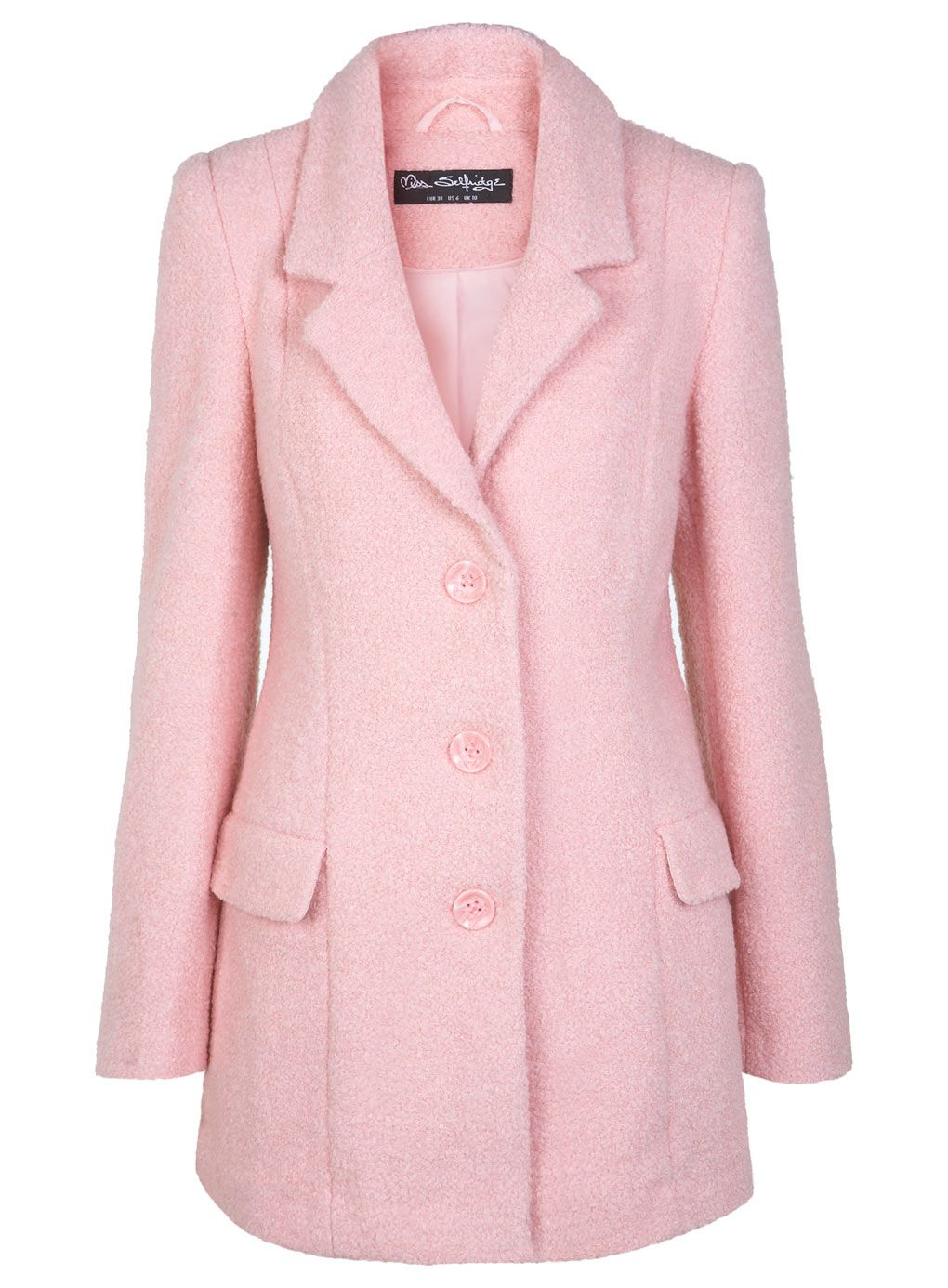 Miss Selfridge Pink Wool Boyfriend Coat, £85 | Autumn/Winter ...