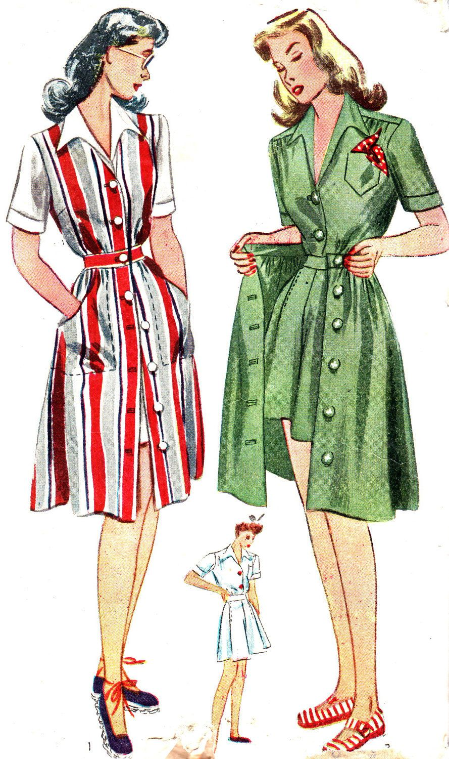 Vintage Sewing Pattern 1940s Simplicity 4643 Skirt, Matching Blouse ...
