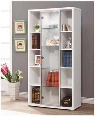 Contemporary White Wood And Glass Display Cabinet White Display Cabinet Bookcase With Glass Doors Shelving Units Living Room
