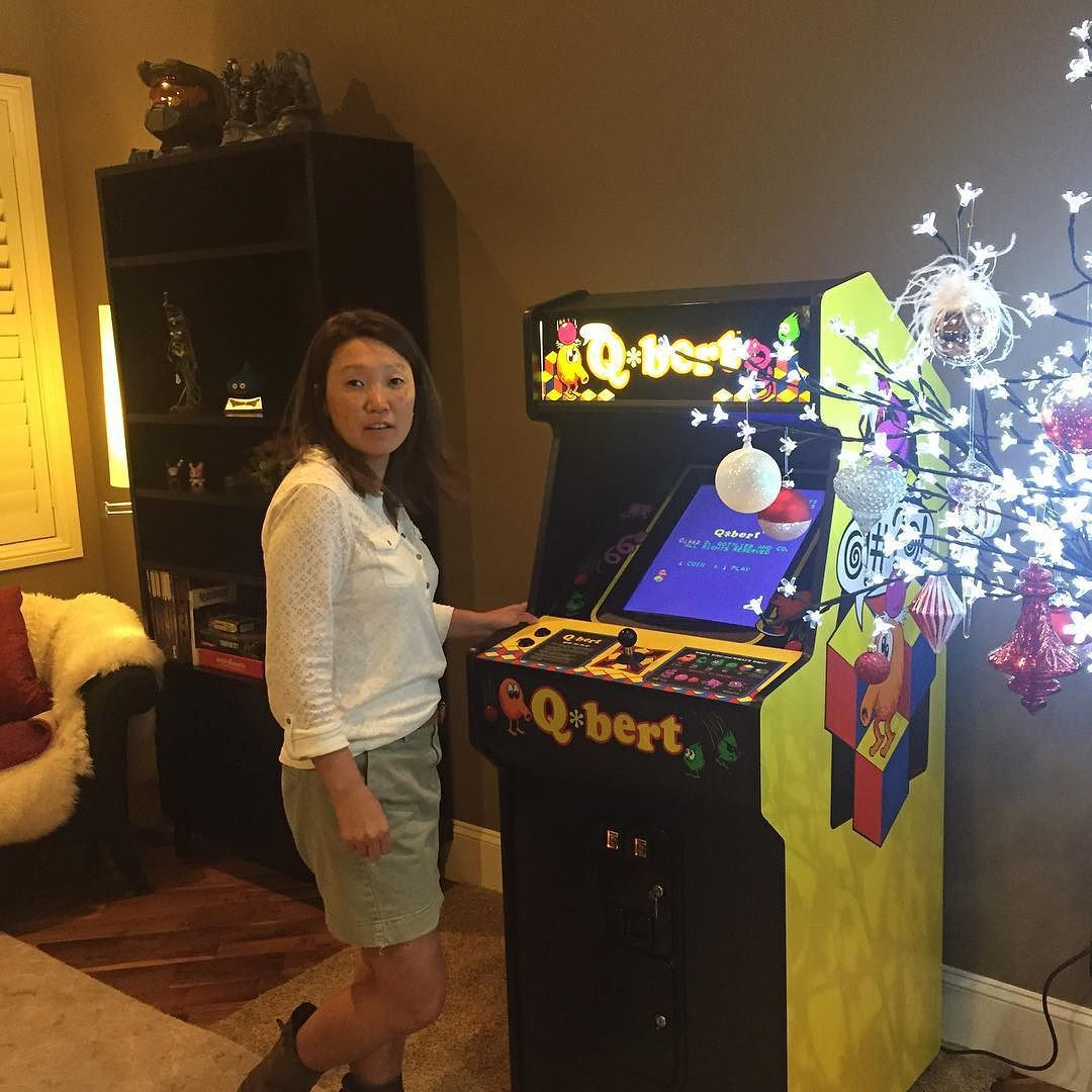 """By mr_teargas: This is @mutechoir and her """"look I got a high score!"""" Face! #classicgaming #classicarcadegames #classicarcade #Arcade #QBert Its Your Up! #arcade #micrhobbit"""