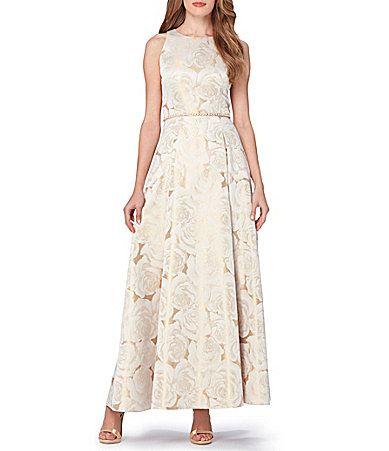 Tahari Asl Rose Gold Floral Printed Jacquard Ball Gown
