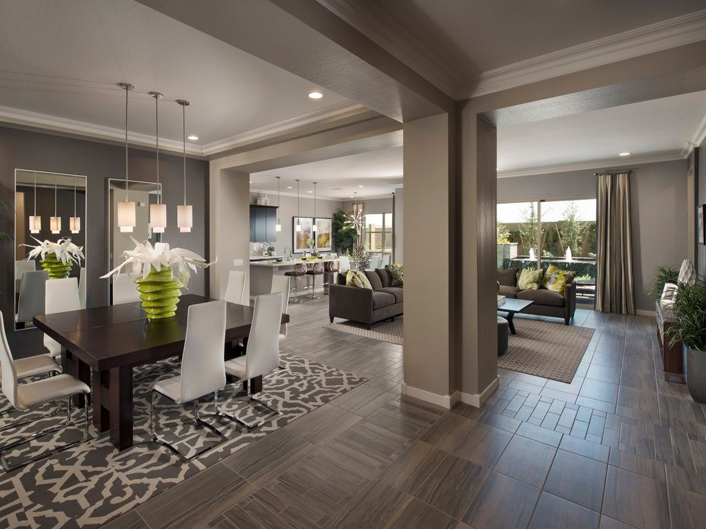Contemporary Great Room With Pendant Light Dabny Dining