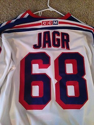 big sale df1f9 9de8e White CCM Authentic Rangers Jaromir Jagr Jersey w/ Captain ...