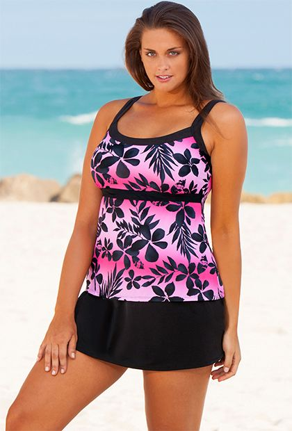 Beach Belle Pink Ombre Tropical Plus Size Empire Skirtini