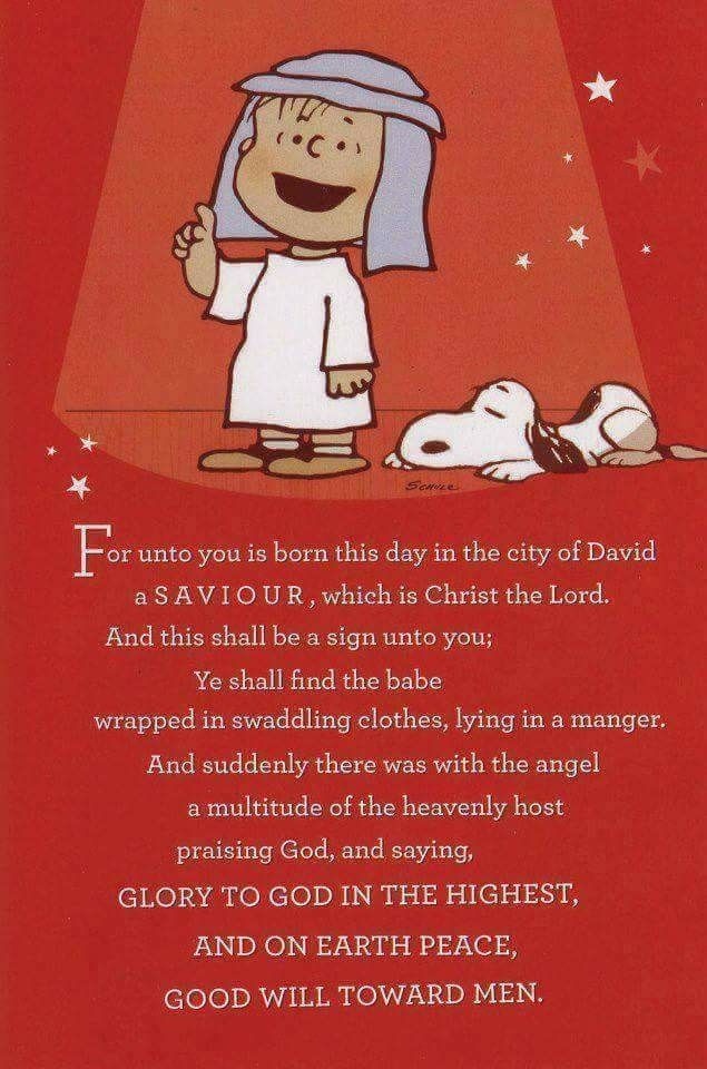 For unto you is born this day in the city of David, a savior... Linus & Snoopy | Peanuts ...