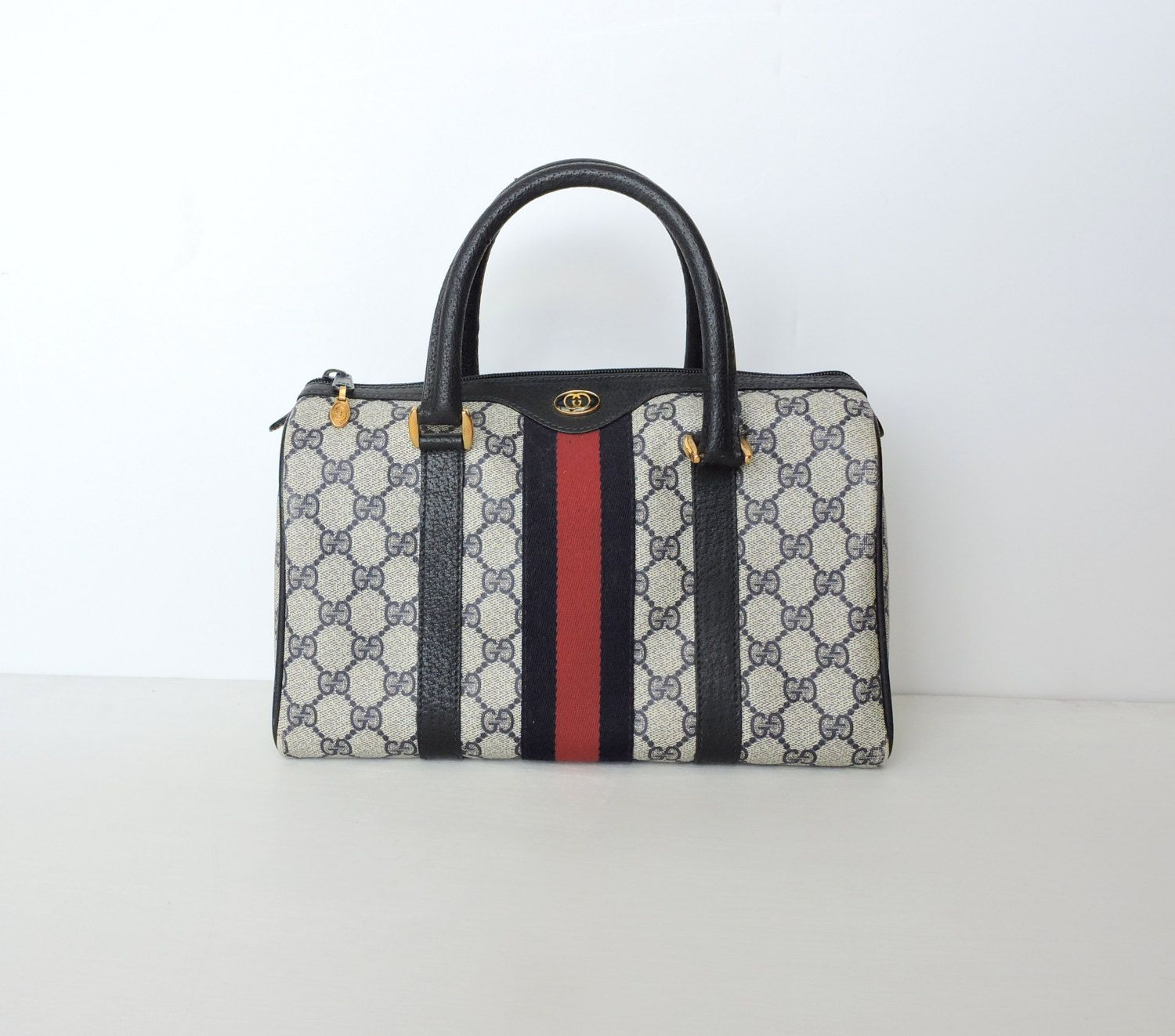 bff4251e0349 Authentic Vintage Gucci Bag, Navy Blue Gucci Speedy Satchel, Signature  Print Canvas and Leather Boston Gucci Purse, Red Stripe, Dust Cover by ...