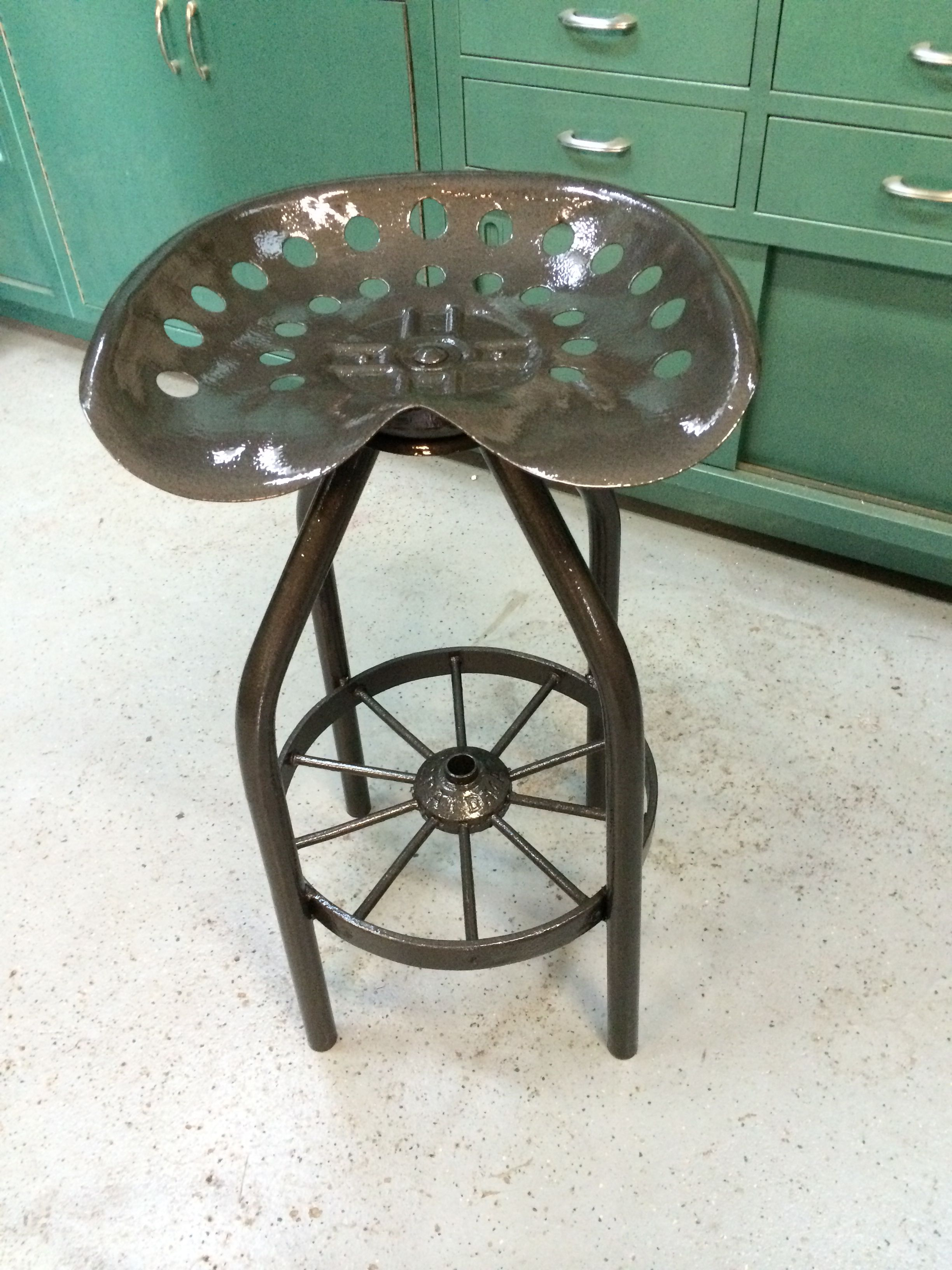 Tractor Seat Bar Shop Stool That Swivels With Wagon Wheel