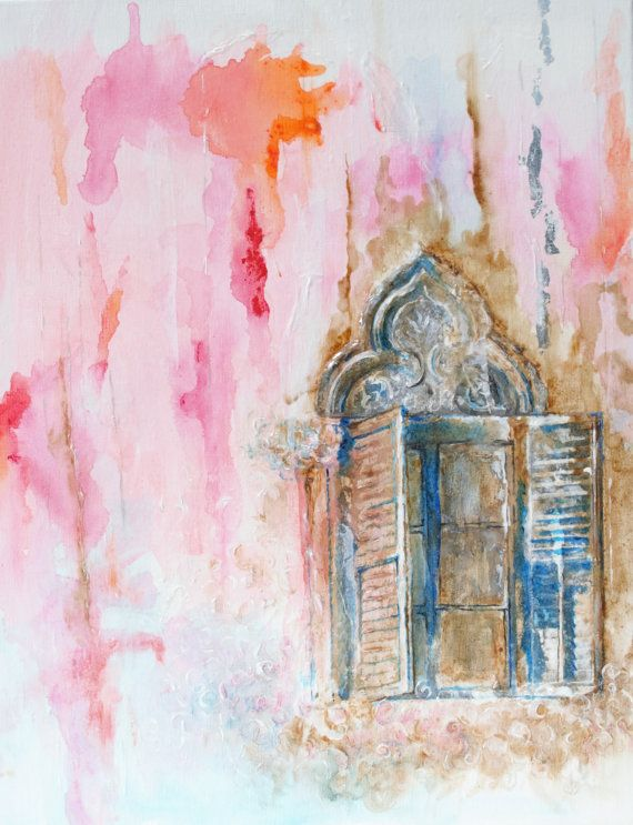 Title: Venetian Window  Mixed Media & Acrylic, Paper, . Support: Stretched Canvas, ready to hang. Size : 20x 16 Two coats of protective gloss varnish
