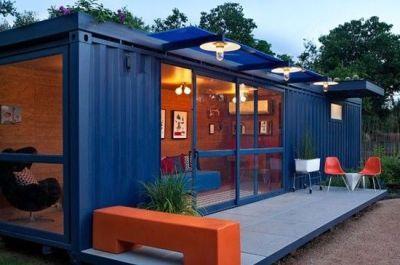 habitation en container habitable modulaire avec terrasse et baie vitr e des maison. Black Bedroom Furniture Sets. Home Design Ideas