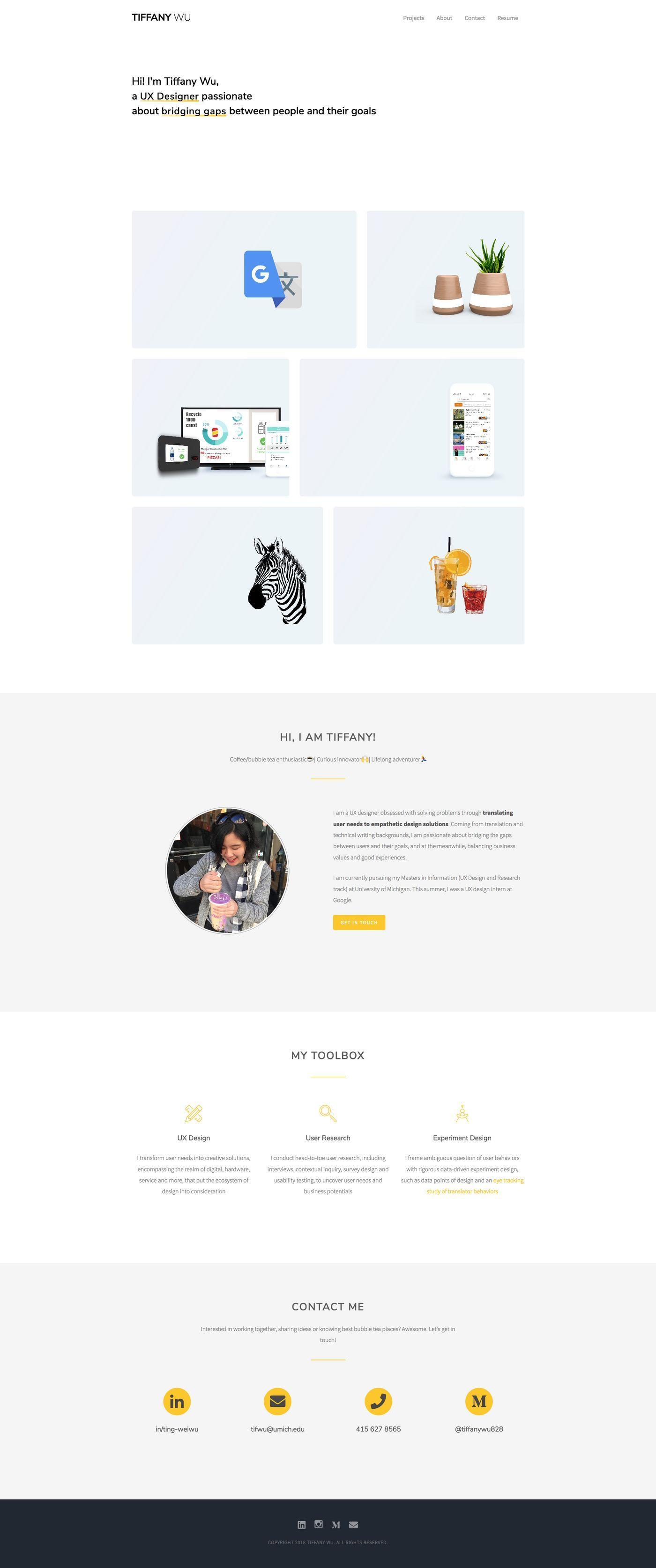 Bestfolios Tiffany Wu Portfolio website, Portfolio