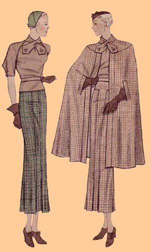 """SE30-1399 Ladies' Three-Piece Ensemble, circa 1934 This pattern includes the panelled skirt and a blouse with an attached scarf over which the cape buttons-just brilliant! This pattern is available in: 18 (fitting a 36"""" bust, 30"""" waist and 39"""" hip) or size 20 (fitting a 38"""" bust, 32"""" waist and 41"""" hip). The original fabric suggestions cited for this design are: Basketweave, Tweed, Lightweight Woolen, Bengaline, Wool Crepe, Serge and Herringbone Tweed."""
