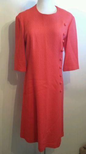 Vintage 1970's Trends by jerrie lurie orange red knee length 3/4 sleeve dress   eBay