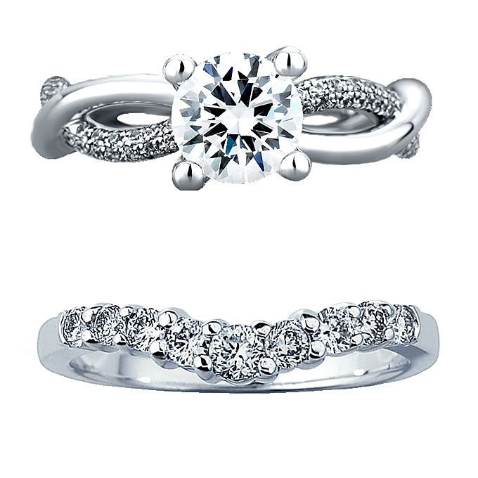 brides unique engagement ring from a jaffe and wedding band from kay jewelers - Wedding Band Rings