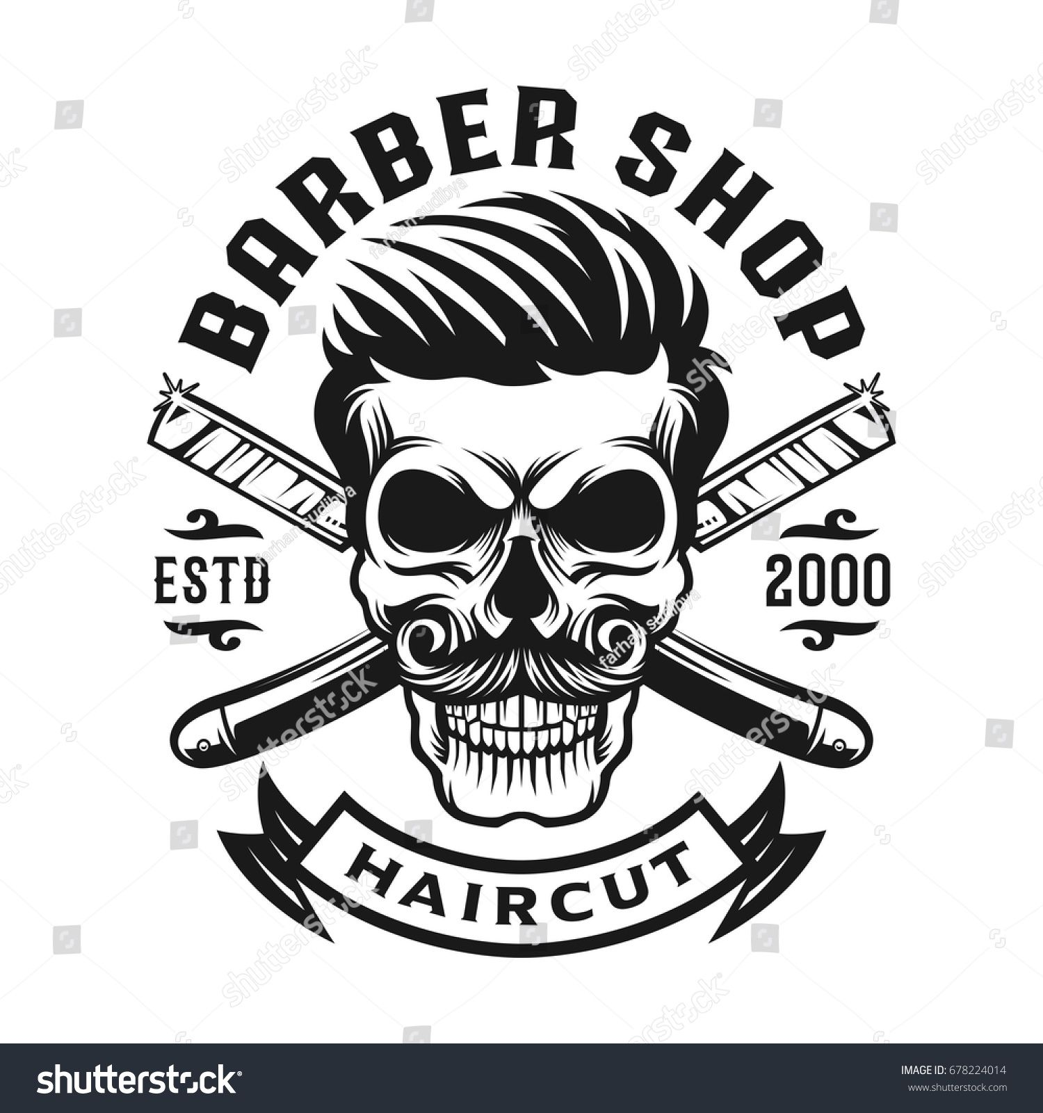 2018 年の skull hair cut barbershop logo template バーバー
