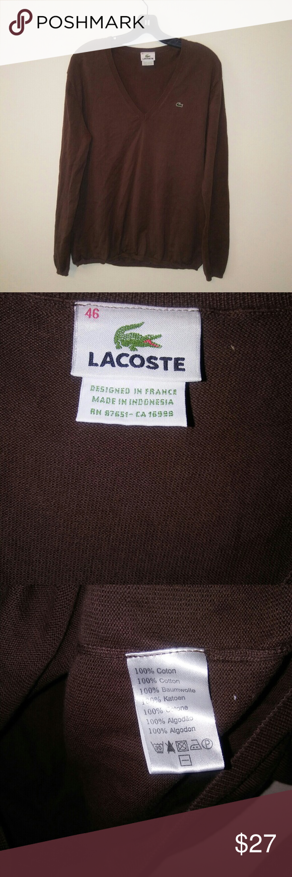 Lacoste Mens Sz 46 Eur Xxl Ribbed V Neck Sweater My Posh Closet 100 Made In Indonesia Cotton 205 Across 26 Length No Rips Or Stains Sweaters
