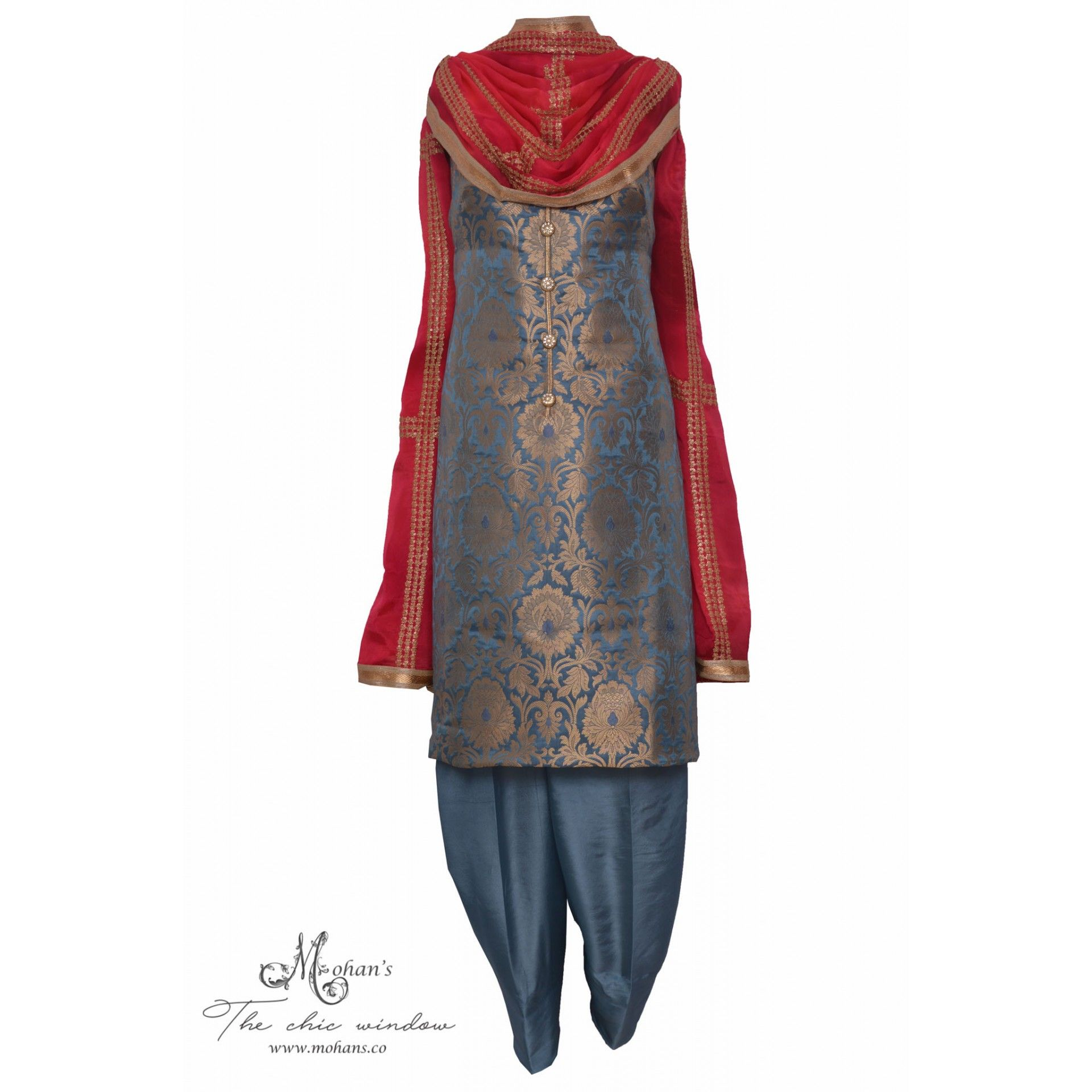 Regal grey and cerise brocade suit embellished with buttonsmohanus