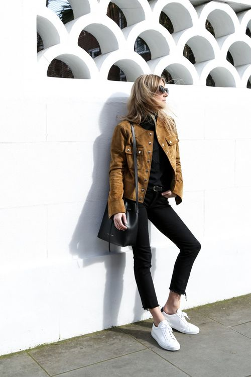 suede jacket with black jeans