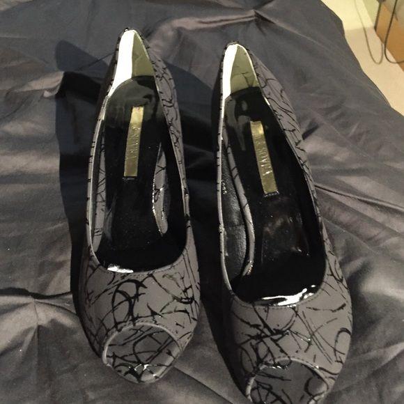 "Fun and sexy peep toe black heels! Beautiful never worn black heels - height 2"" Shoes Heels"
