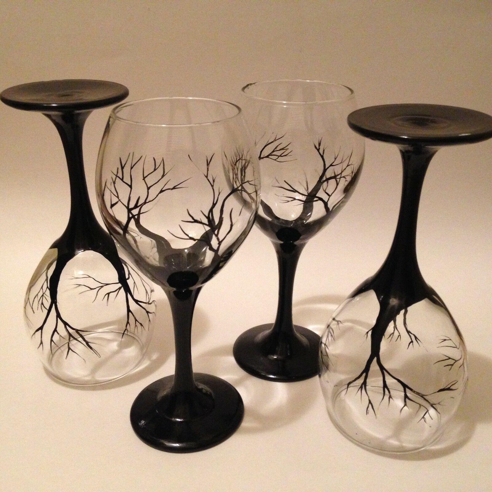 Wine glass Black Trees art work set Of 4 Safe in