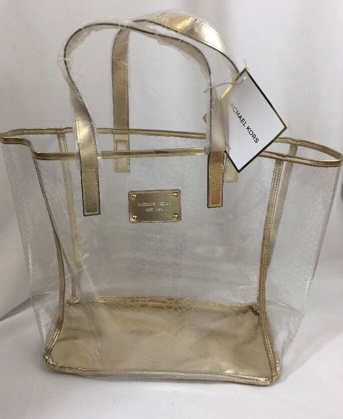6a4732e5b1faa8 MICHAEL KORS Clear/Gold Large Tote Shopper Travel Beach Bag Jelly New! # MichaelKors #TotesShoppers