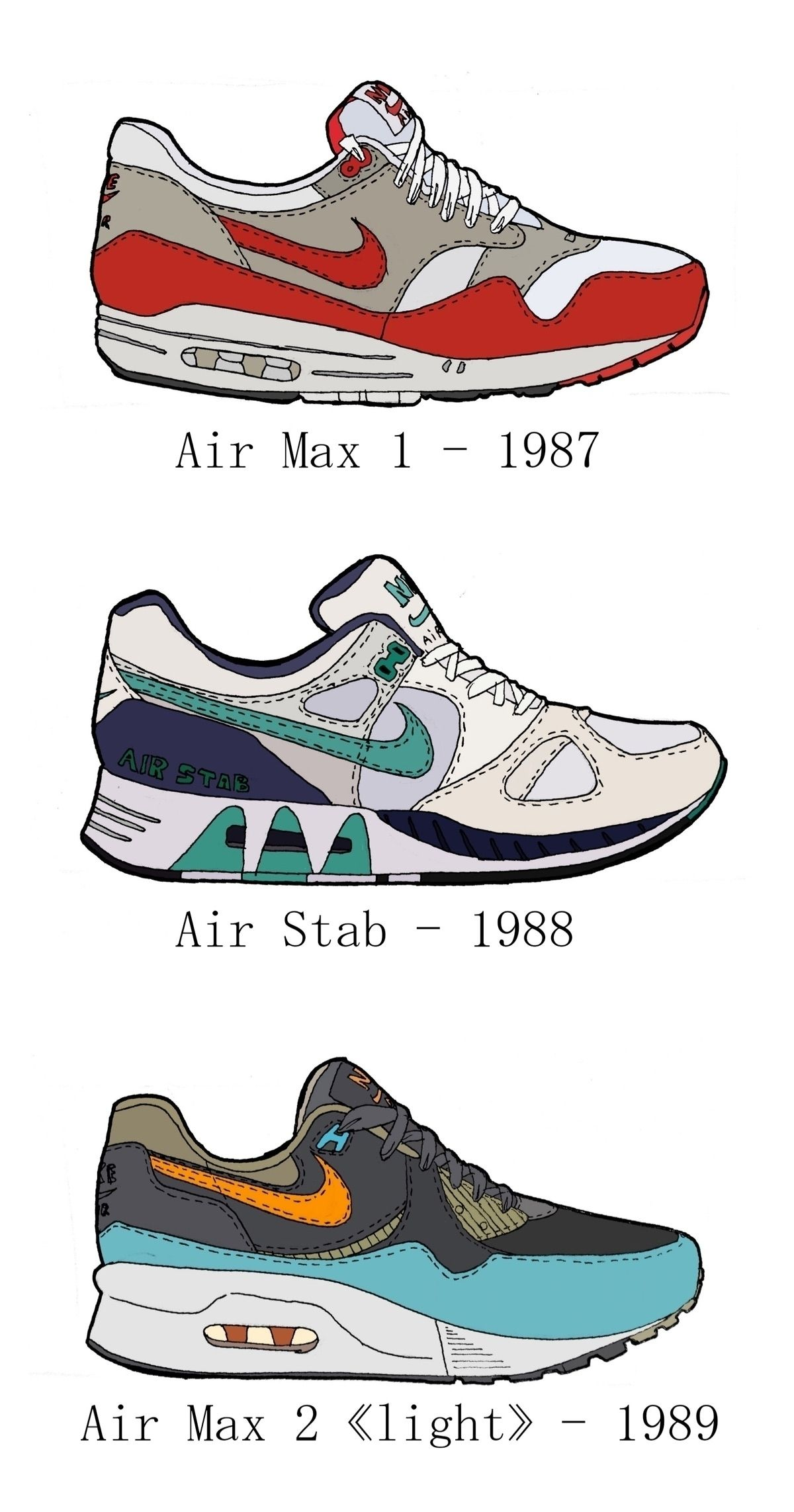 Air Max - 87 to 89 #drawing #airmax #87to89 #airmax1 #airmax2light