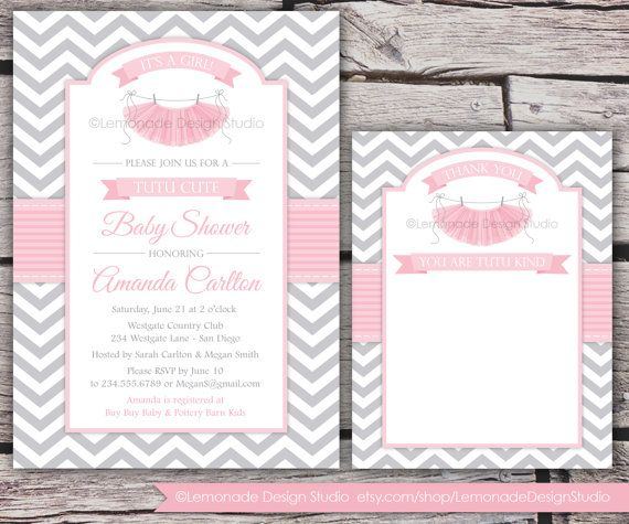 Tutu cute baby shower invitation and thank you card chevron pink an adorable way to welcome a sweet baby girl precious pink tutus and oh so stylish grey chevron filmwisefo