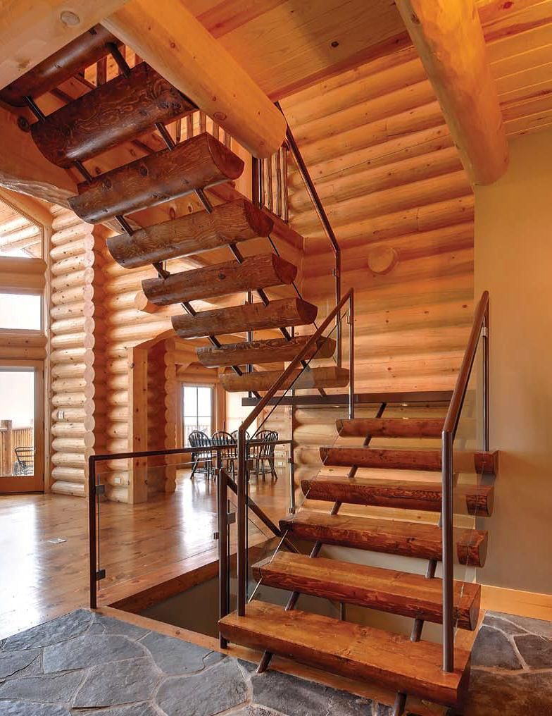 A bit of contemporary mixed with traditional log home