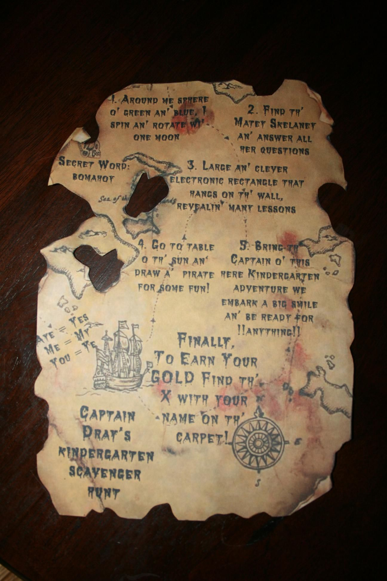 Do it yourself pirate treasure map with diy instructions great for do it yourself pirate treasure map with diy instructions great for birthday party invitations and solutioingenieria Images