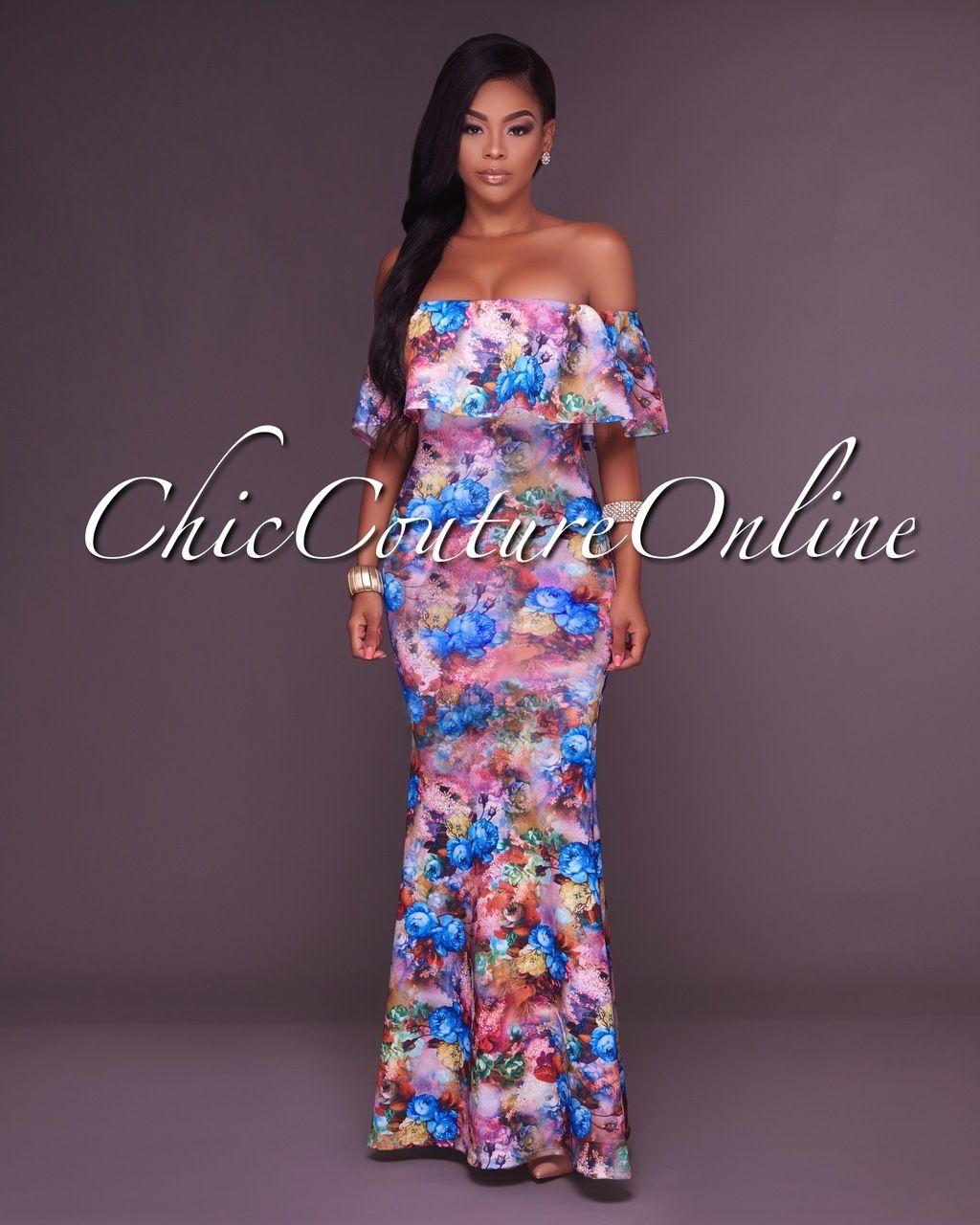 a97a8a3fa2 Veronique Blue Multi-Color Floral Print Off-The-Shoulder Maxi Dress. Sheath  Dresses
