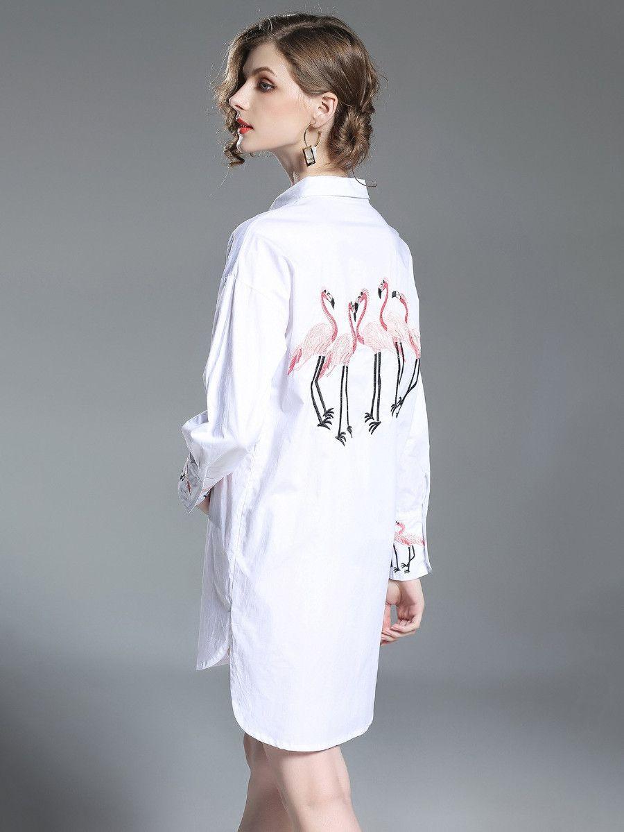 Flamingos embroidered drop shoulder longline shirt shein