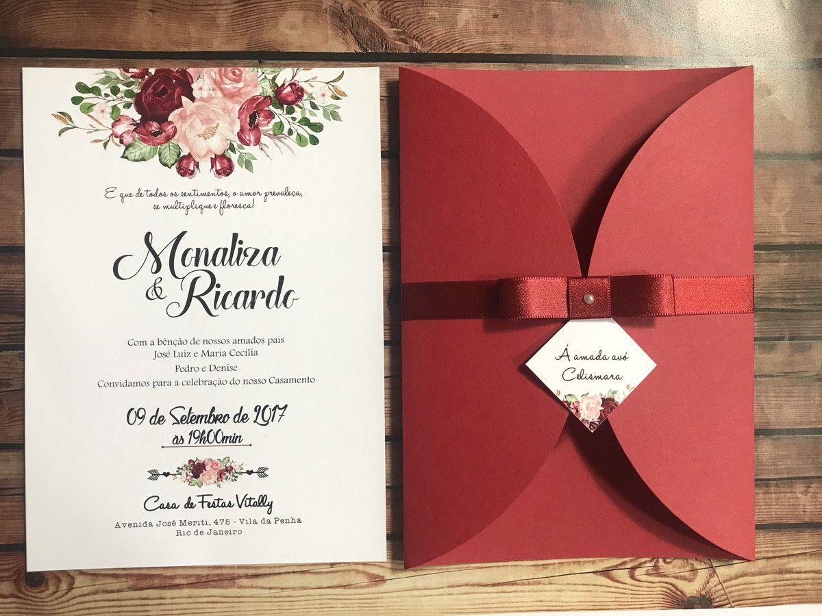 Lindo convite com flores na cor Marsala (bordo, vermelho escuro ...