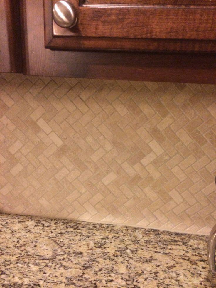 My New Herringbone Travertine Tile Backsplash