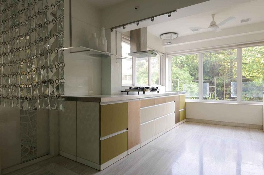 Modern Kitchen with Large Glass Windows, Design by Sonali Shah ...