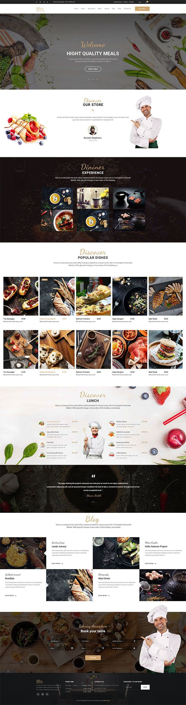 Restaurant Responsive Website Templates Free Download Restaurant