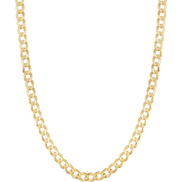 Fremada 14k Yellow Gold 3-mm High Polish Solid Curb Link Necklace ($450) ❤ liked on Polyvore featuring jewelry, necklaces, yellow, gold jewellery, 14k gold necklace, yellow gold necklace, gold necklace and 14k jewelry