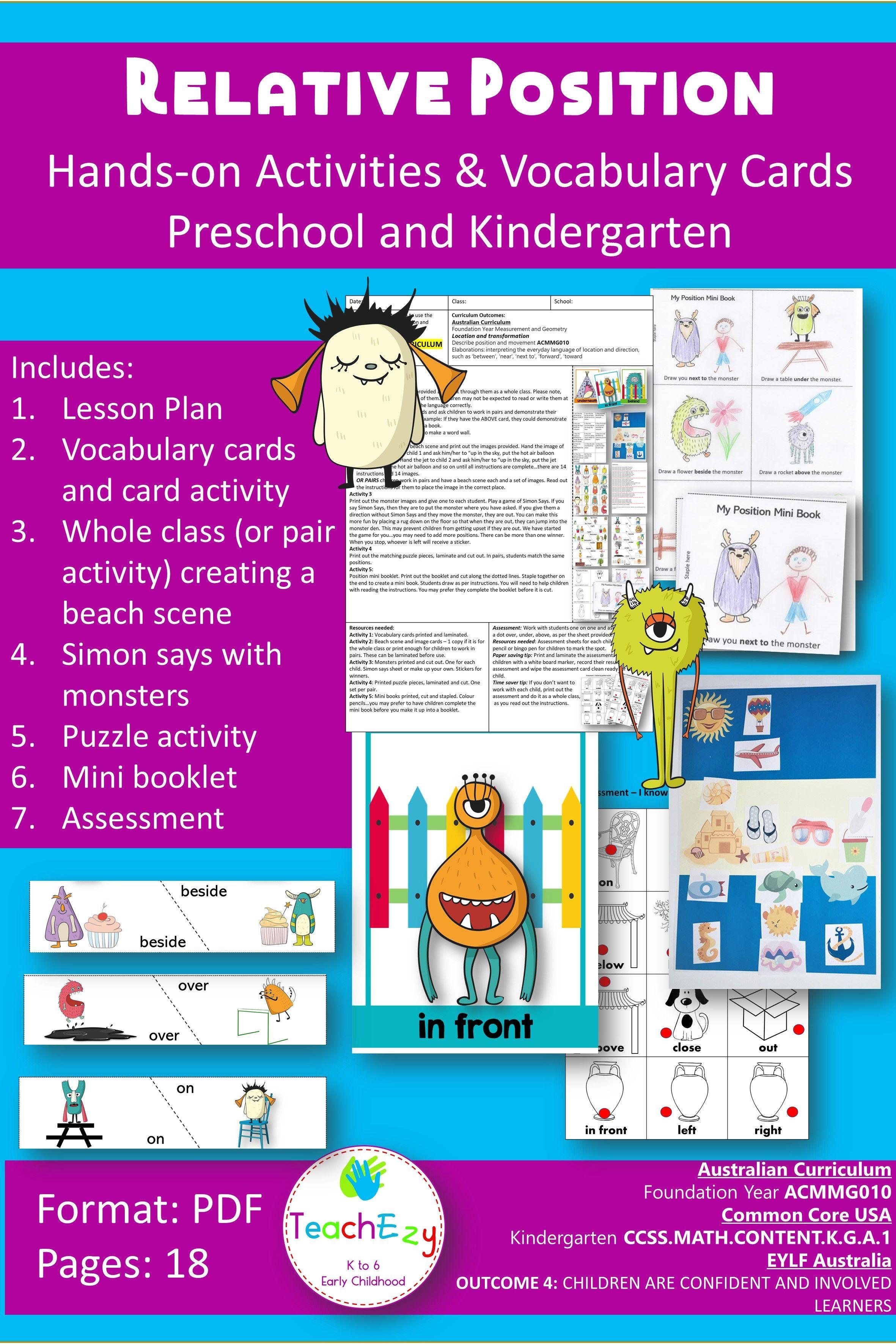 Relative Position Lesson Preschool And Kindergarten