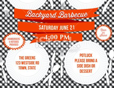 Backyard Bbq Paper Plate Picnic Table Invitation Template Picnic