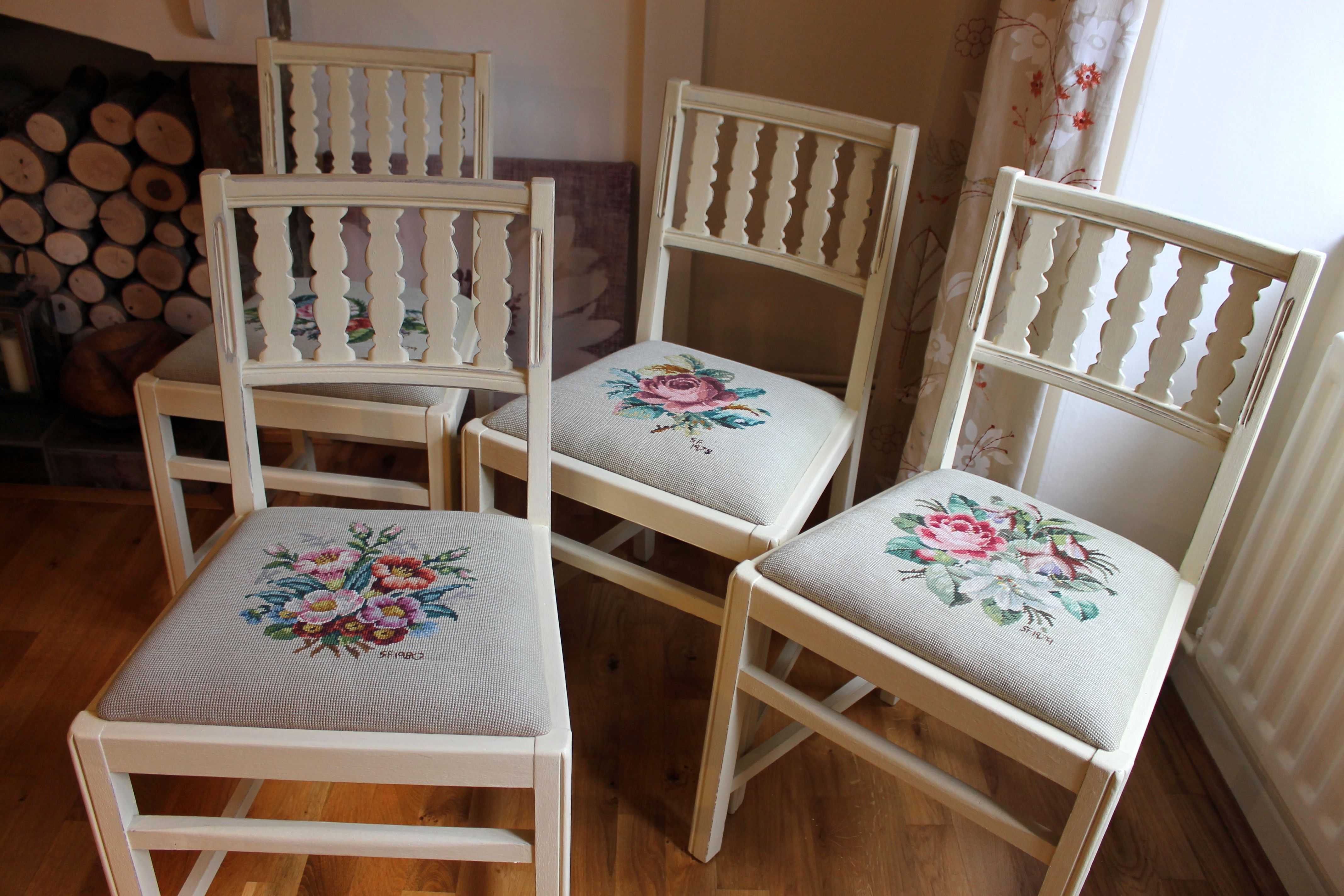 hand painted ercol chairs with needlepoint seats http www ebay co