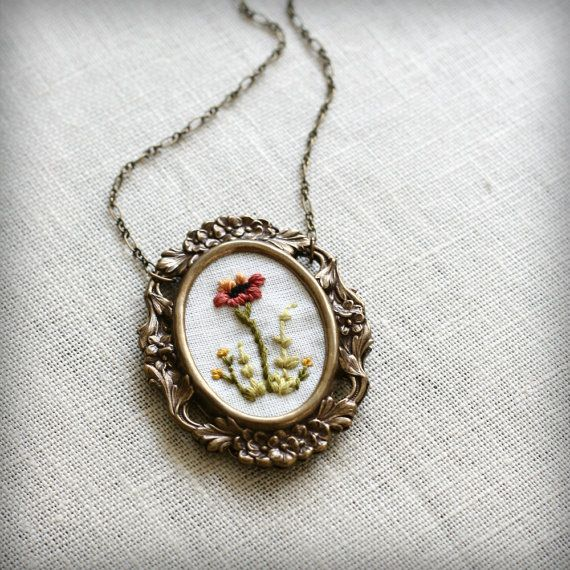 Poppy and Fern hand embroidered necklace by PoppyandFern on Etsy, $48.00