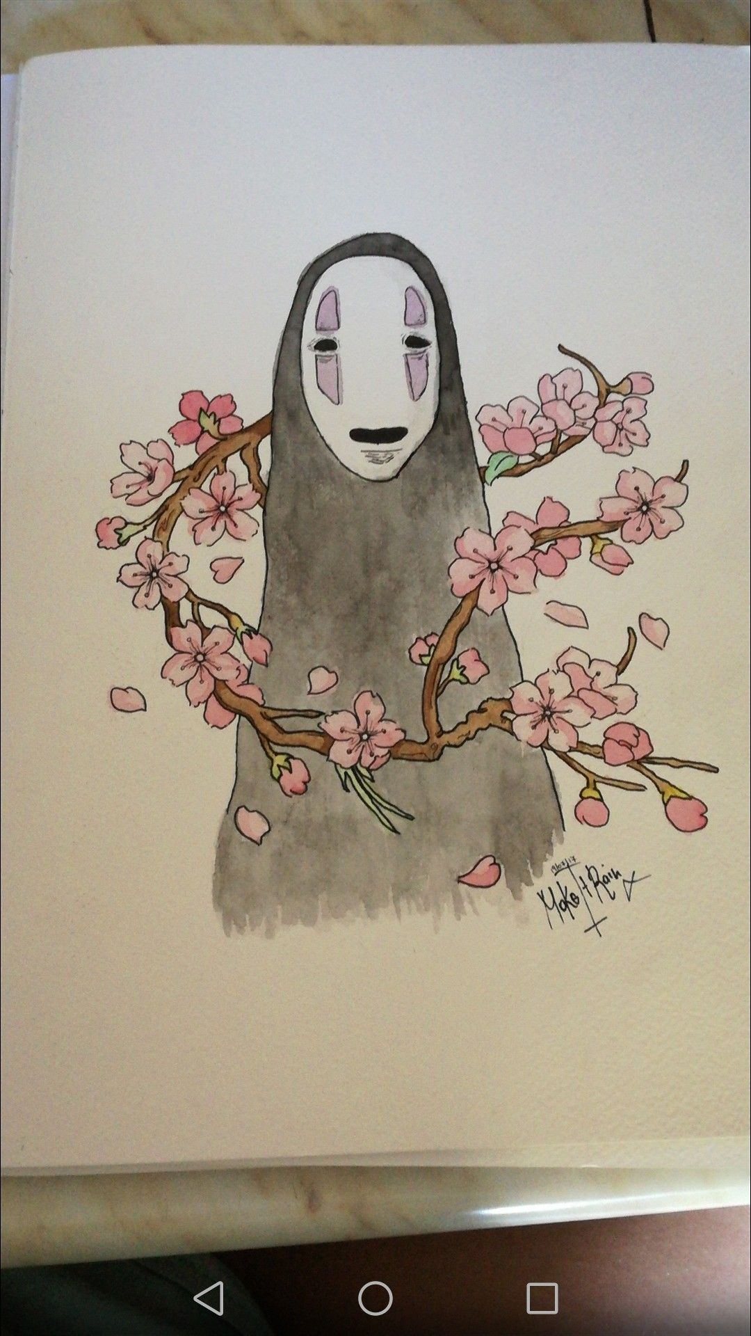 Trying Spirited Away Faceless Sakura Watercolor No Face Without Face Draw Makeitrain Mine Flowers Flower Cherry Blosso Flower Drawing Face Drawing Totoro Art