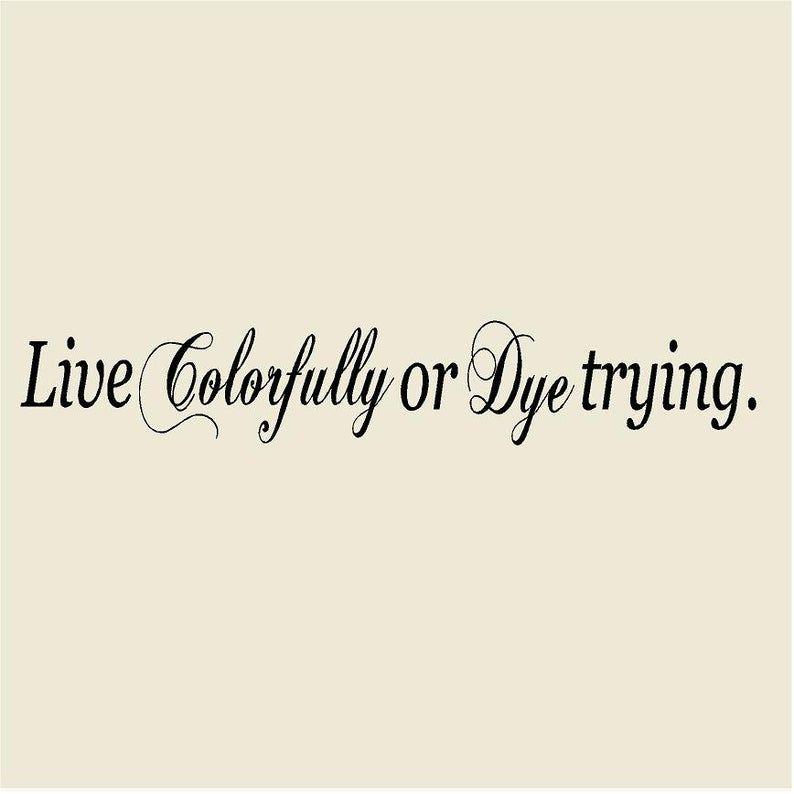 Live Colorfully or Dye Trying 8H x 48W Salon Vinyl Wall Decal-Beauty Salon Wall Sticker Mural-Hairdresser Hair Stylist Salon Decor