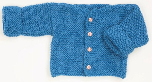 This Easy Knitted Garter Stitch Baby Sweater Is A Quick Little