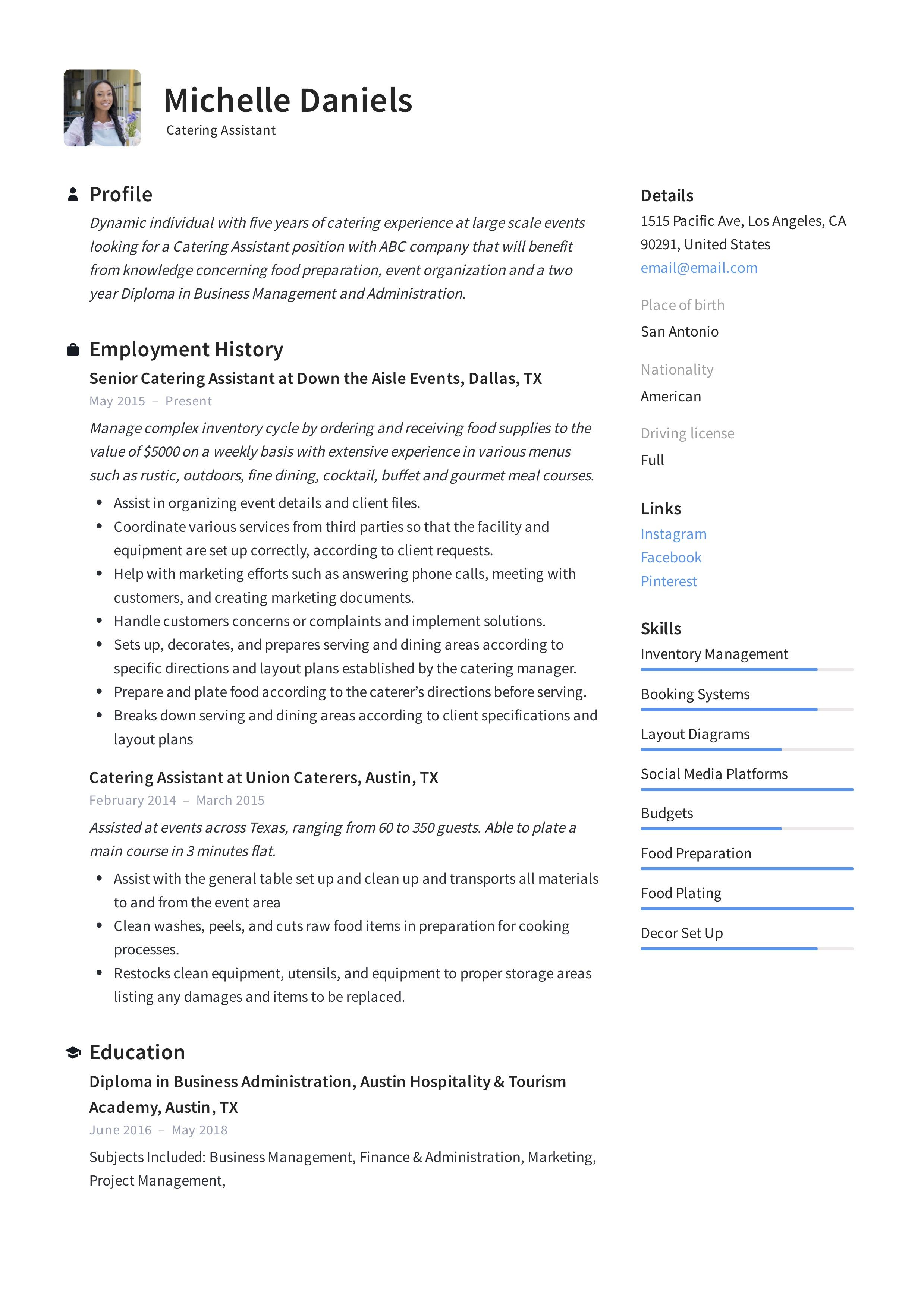 Catering assistant resume template in 2020 assistant