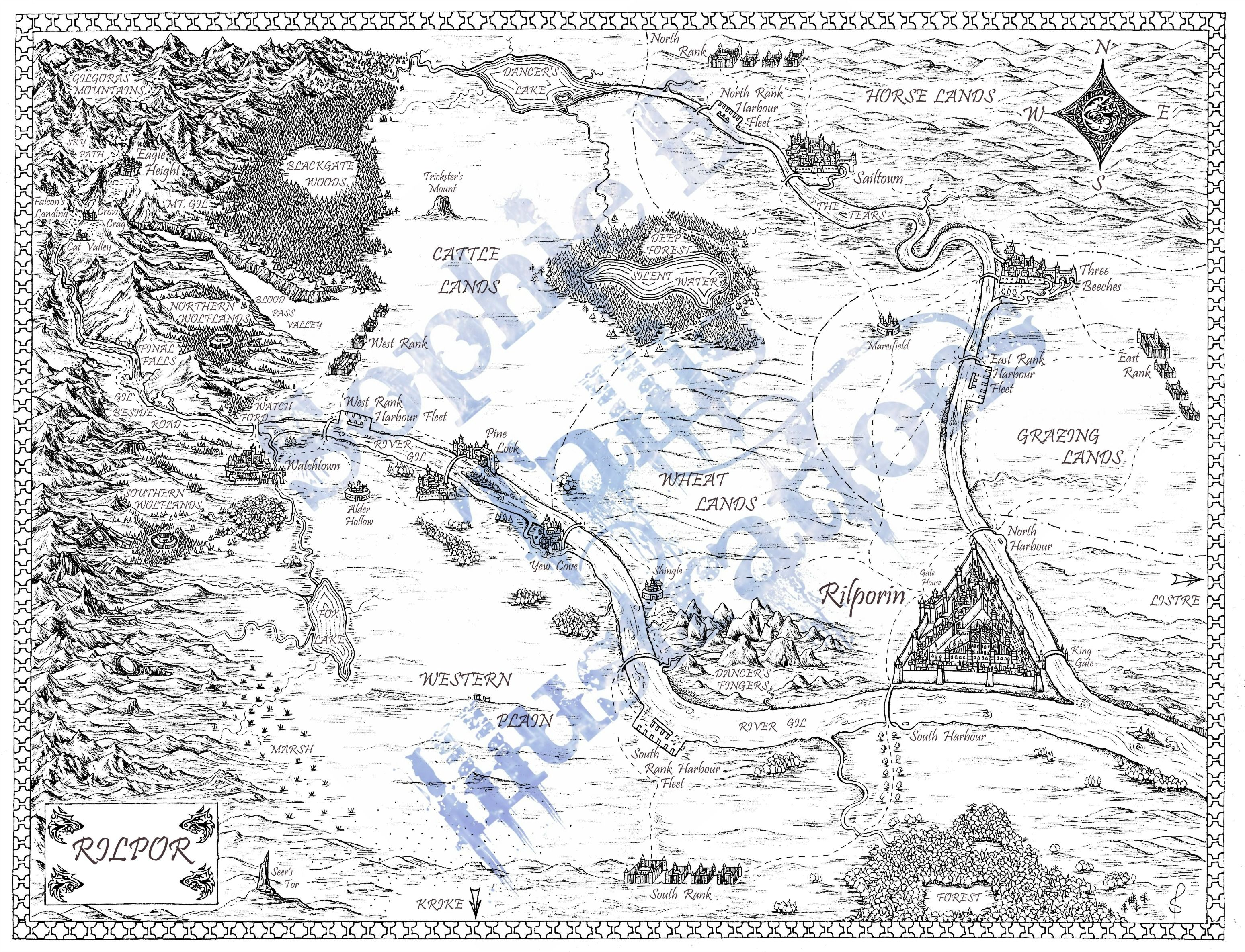 My pen ink fantasy world map for harpercollins and author anna my pen ink fantasy world map for harpercollins and author anna stephens and her stunning sciox Images