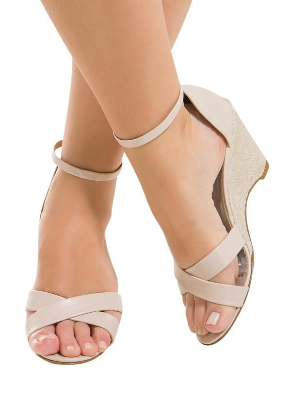 Sandália Salto Baixa Branco | Sandalia, Sandálias baixas e