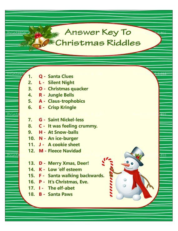 Christmas Riddle Game, DIY Holiday Party Game, Printable Christmas Game, DIY Game For Holiday ...